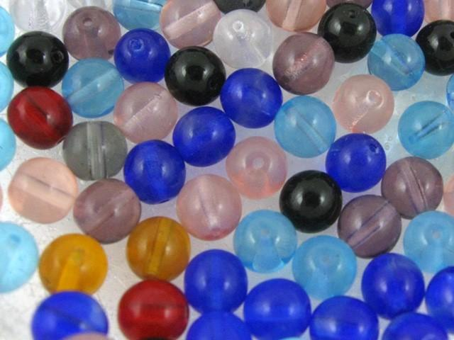 Perla tondino 8 mm ambra in vetro veneziano, foro passante