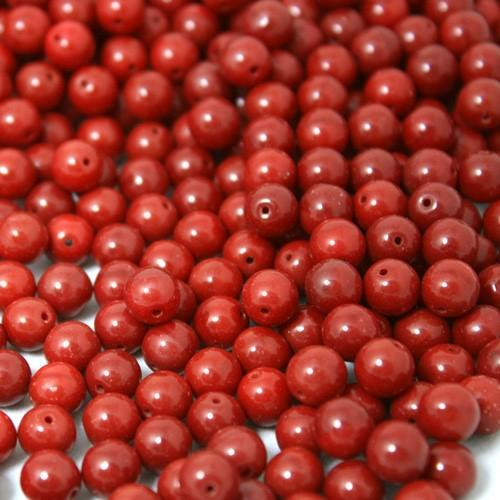 Perla tondino 8mm rosso coprente in pasta di vetro Murano, foro passante