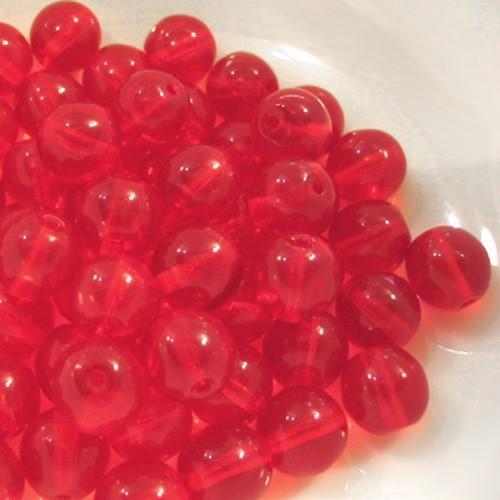 Perla tondino 8 mm rosso in vetro veneziano, foro passante