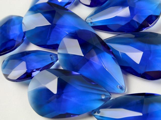 Mandorla pendente 38 mm vetro cristallo molato blue
