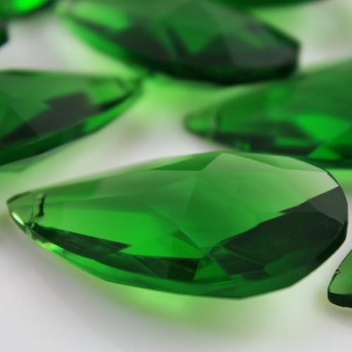 Mandorla pendente 38 mm vetro cristallo molato verde