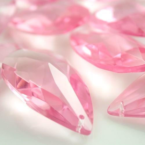 Mandorla pendente 38 mm vetro cristallo molato rosa