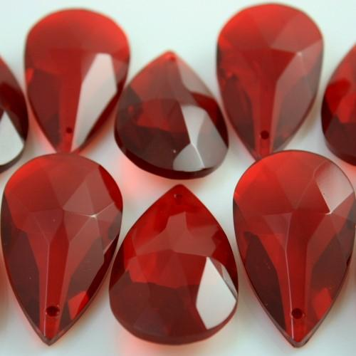 Mandorla pendente 38 mm vetro molato cristallo rosso