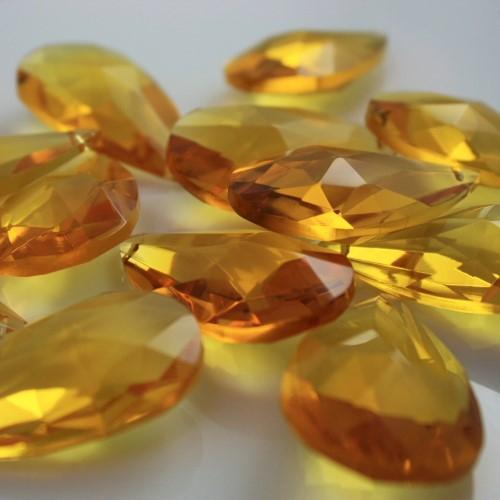 Mandorla pendente 38 mm vetro cristallo molato giallo