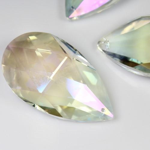 Mandorla pendente 50 mm vetro cristallo molato aurora boreale