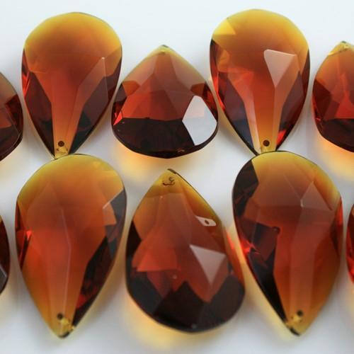 Mandorla pendente 50 mm vetro cristallo molato ambra