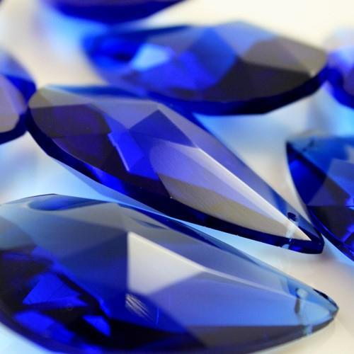 Mandorla pendente 50 mm vetro cristallo molato blu