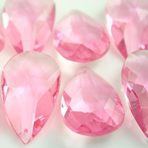 Mandorla pendente 50 mm cristallo vetro molato rosa
