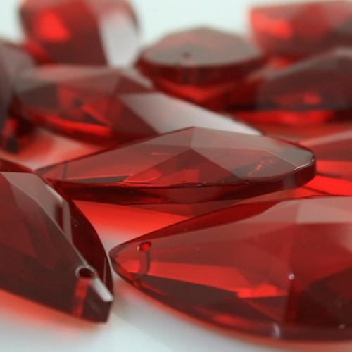 Mandorla pendente 50 mm cristallo vetro molato rosso