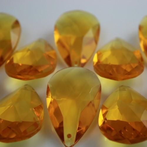 Mandorla pendente 50 mm cristallo vetro molato giallo