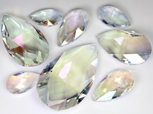 Mandorla pendente 76 mm vetro cristallo molato aurora boreale