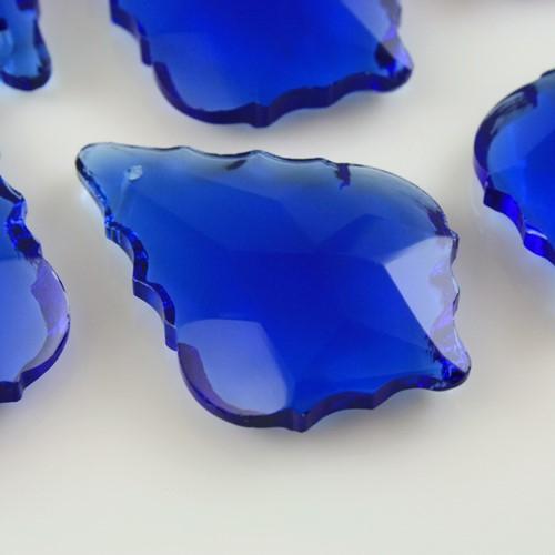 Foglia barocca 38 mm blue, pendaglio cristallo vetro molato