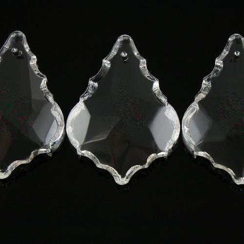 Foglia barocca 38 mm colore puro, pendaglio cristallo vetro molato