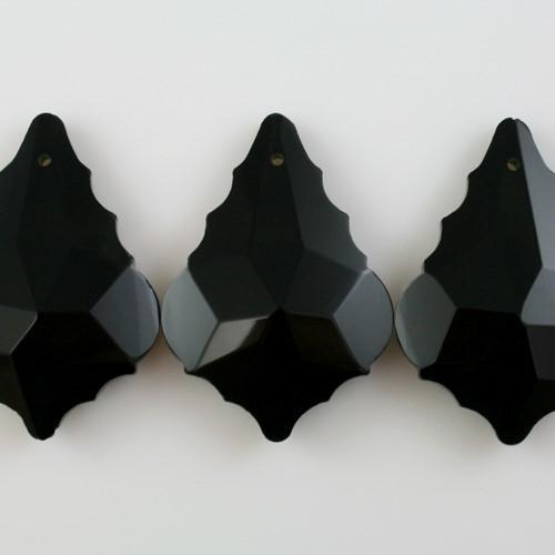 Foglia barocca 38 mm nero lucido, pendaglio cristallo vetro molato