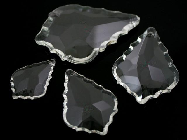 Foglia barocca 50 mm colore puro, pendaglio cristallo vetro molato