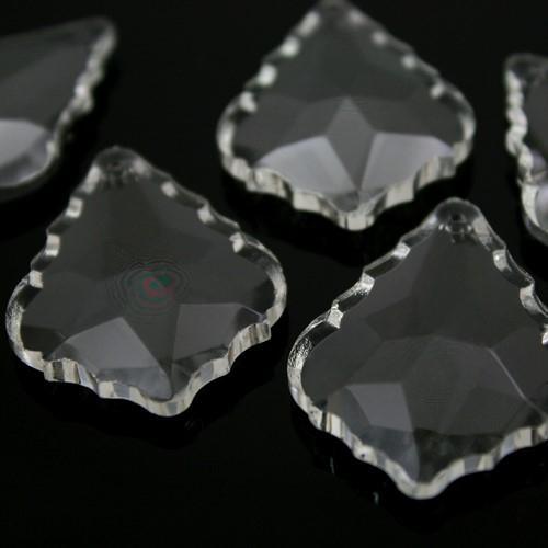 Foglia barocca 76 mm colore puro, pendaglio cristallo vetro molato