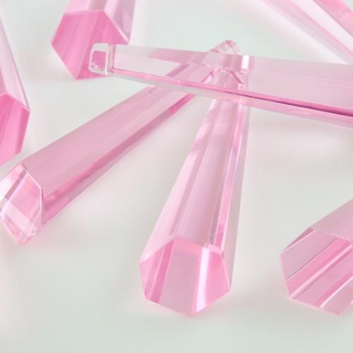 Pendaglio prisma 76 mm asimmetrico in cristallo sfaccettato color rosa