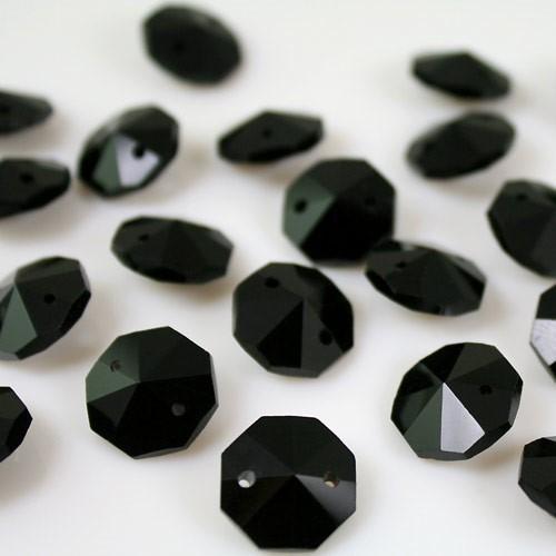 Ottagono 14 mm nero lucente vetro cristallo molato 16 facce 2 fori.