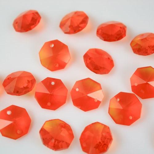 Ottagono 14 mm arancione vetro cristallo molato 16 facce 2 fori.