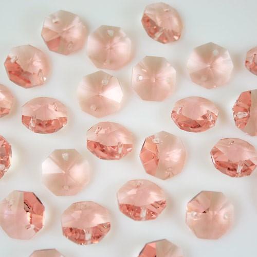 Ottagono 14 mm rosa antico vetro cristallo molato 16 facce 2 fori.