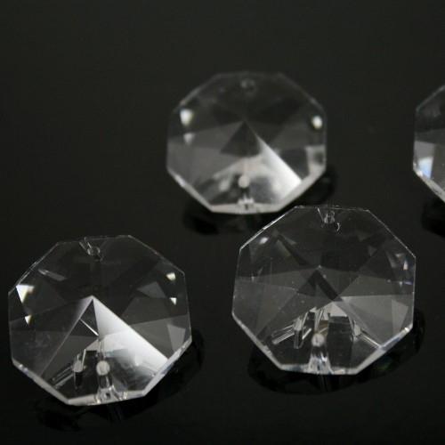 Ottagono 26 mm trasparente puro cristallo vetro molato 2 fori 16 facce
