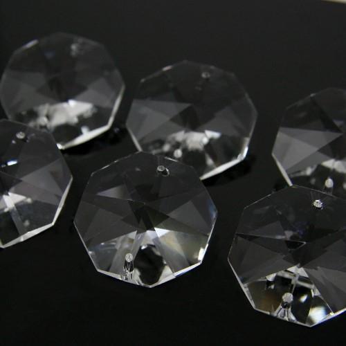 Ottagono 34 mm trasparente puro cristallo vetro molato 2 fori 16 facce