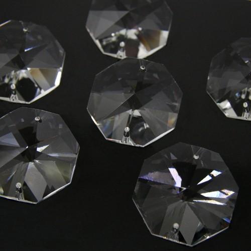 Ottagono 40 mm trasparente puro cristallo vetro molato 2 fori 16 facce