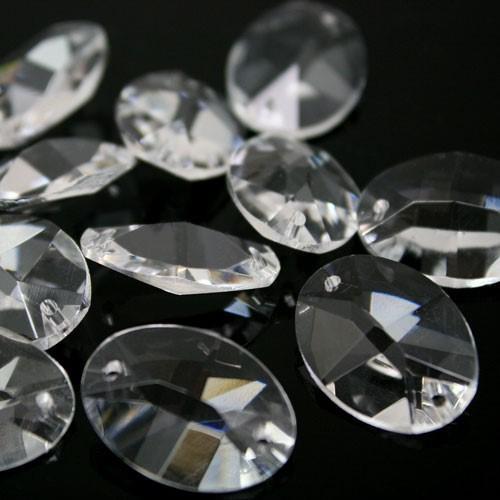 Ovalino a due fori 22 mm - Cristallo Vetro molato
