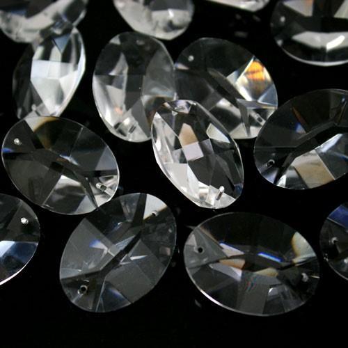 Ovalino a due fori 32 mm - Cristallo Vetro molato