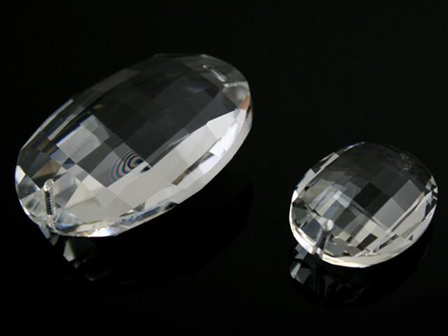 Cristallo ovale 32 mm in cristallo molato colore puro 2 fori