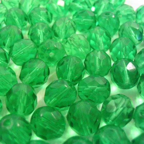 Perla sfaccettata 12 mm mezzo cristallo verde smeraldo