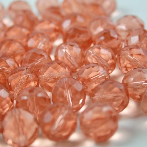 Perla sfaccettata 12 mm mezzo cristallo rosa antico