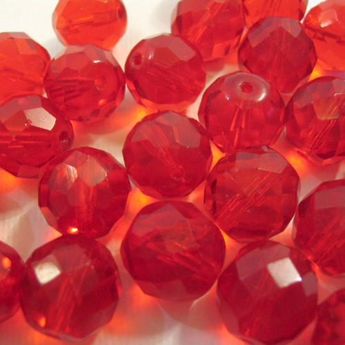 Perla sfaccettata 12 mm mezzo cristallo rosso rubino