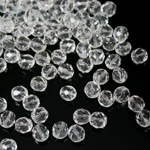 Perla sfaccettata 8 mm mezzo cristallo colore puro