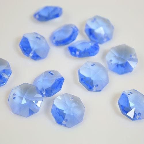 Ottagono 14 mm Sapphire cristallo sfaccettato due fori -Asfour 1080-