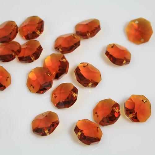 Ottagono 14 mm Topaz cristallo sfaccettato due fori -Asfour 1080-