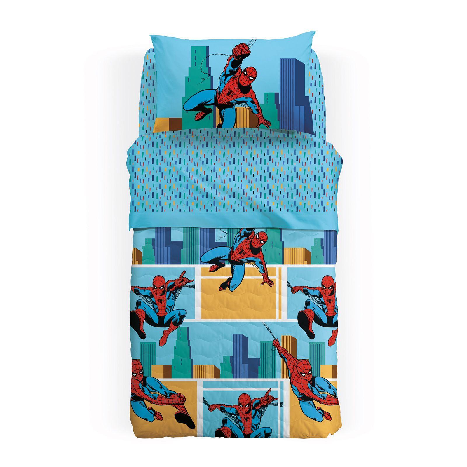 Single Square Quilted Bedspread 1 Square Bassetti Spiderman Blue Benasciutti Casa