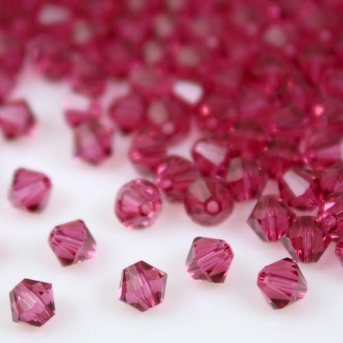 Perla bicono Fuchsia 4 mm cristallo Swarovski 5328 bead