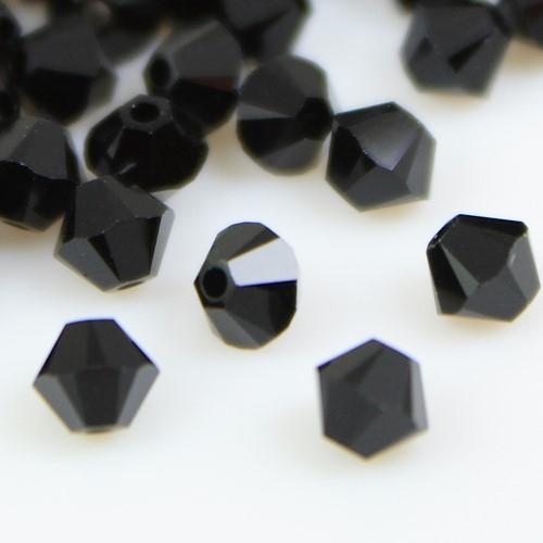 Perla bicono nero Jet 4 mm cristallo Swarovski 5328 bead