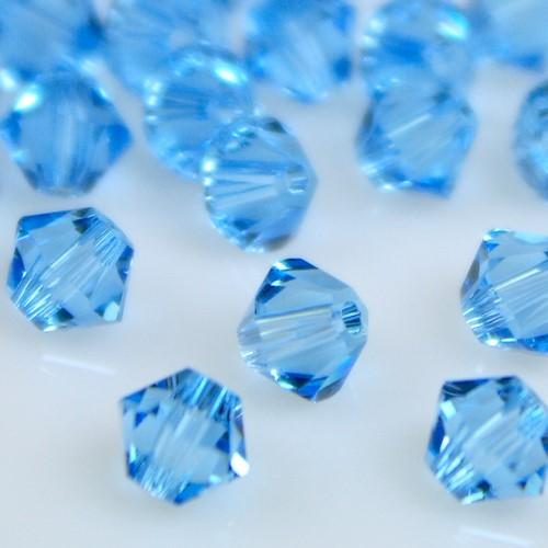 Perla bicono Aquamarine 4 mm cristallo Swarovski 5328 bead