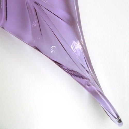 Foglia larga pendente in vetro artigianale color viola