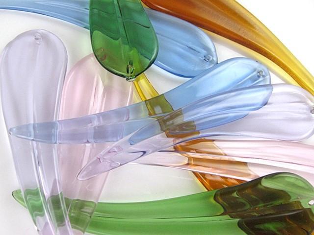 Foglia lunga pendente in vetro artigianale verde