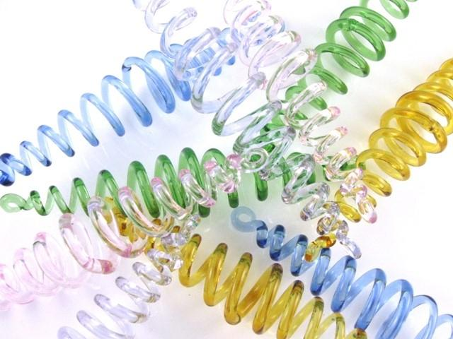Molla spirale pendente vetro artigianale blu, lunghezza 13 cm