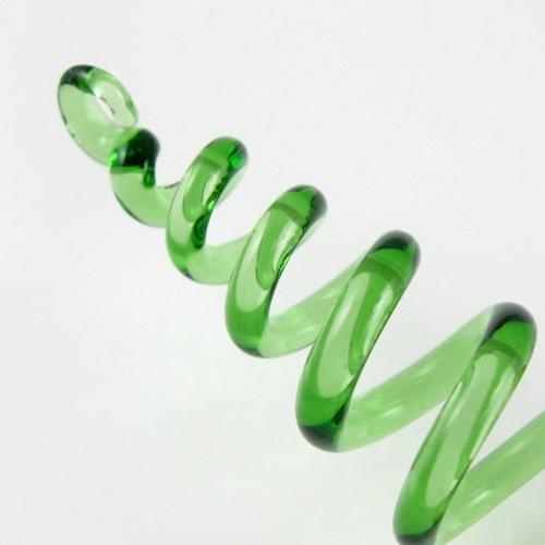 Molla spirale pendente vetro artigianale verde, lunghezza 13 cm