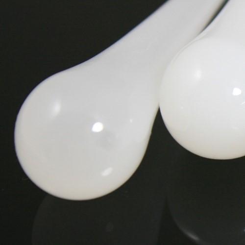 Goccia pendente 100 mm vetro di Murano bianco seta