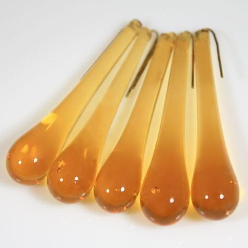 Goccia pendente 55 mm vetro di Murano ambra chiaro