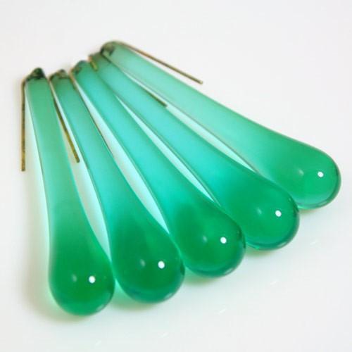 Goccia pendente 55 mm vetro di Murano verde scuro