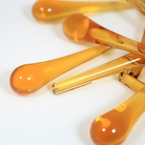 Goccia pendente 75 mm vetro di Murano ambra scuro