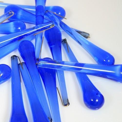 Goccia pendente 75 mm vetro di Murano blue zaffiro