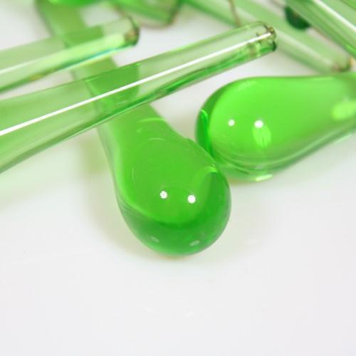 Goccia pendente 75 mm vetro di Murano verde chiaro